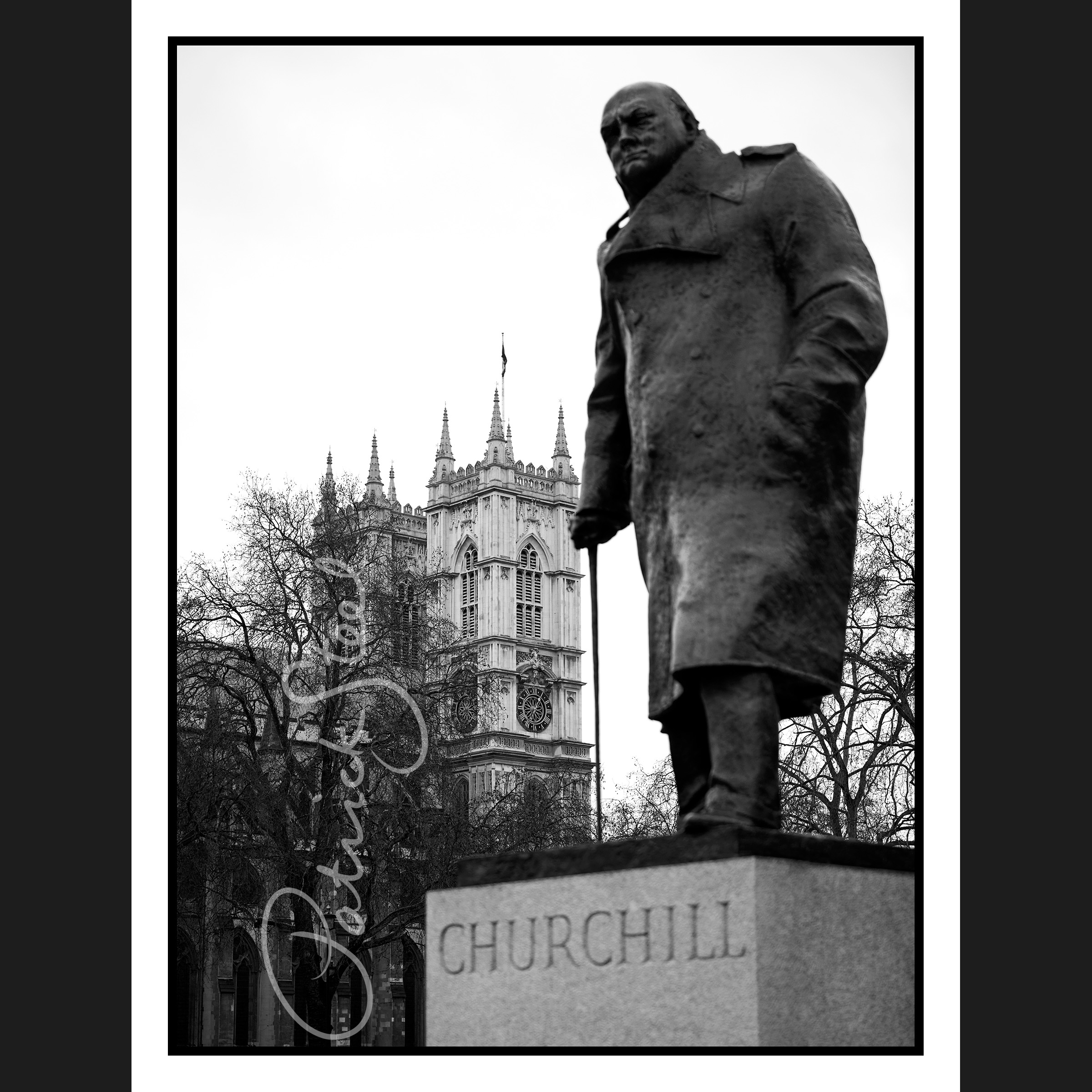 Title: View past Churchill to Westminster Abbey, London | B&W Only | <a href=