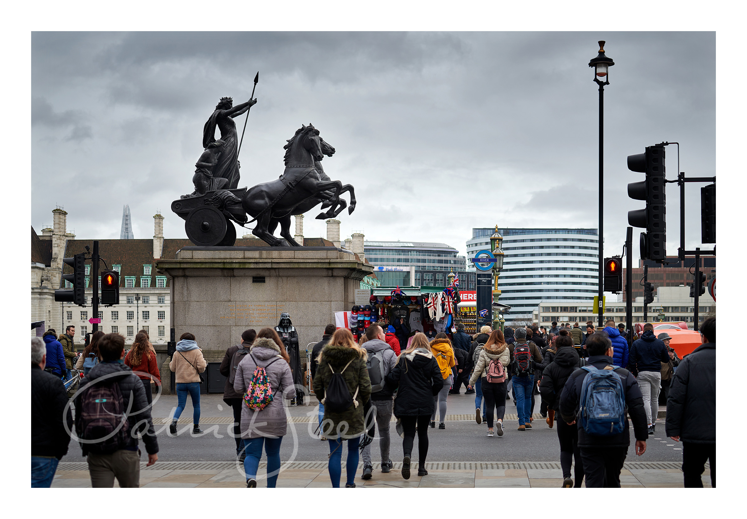 Title: Boadicea and Her Daughters with Darth Vader, Westminster Bridge, London | Colour | <a href=