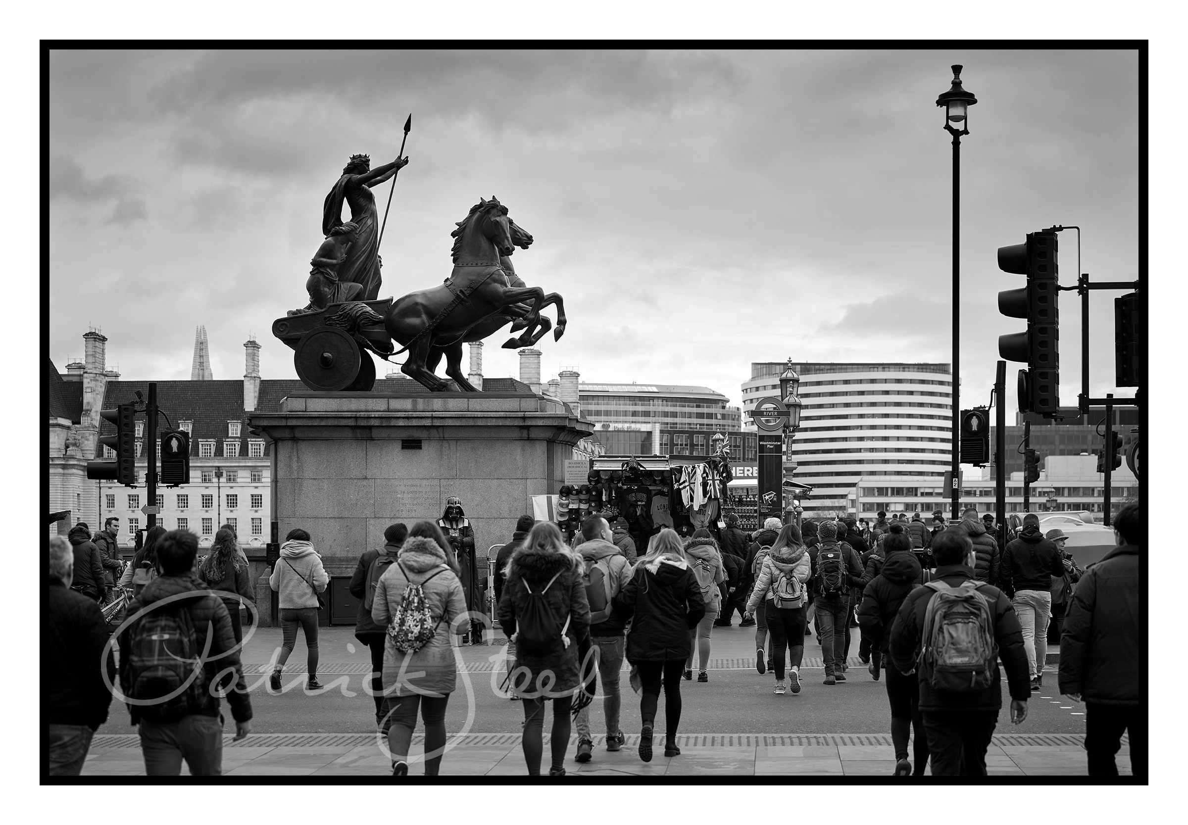 Title: Boadicea and Her Daughters with Darth Vader, Westminster Bridge, London | B&W | <a href=