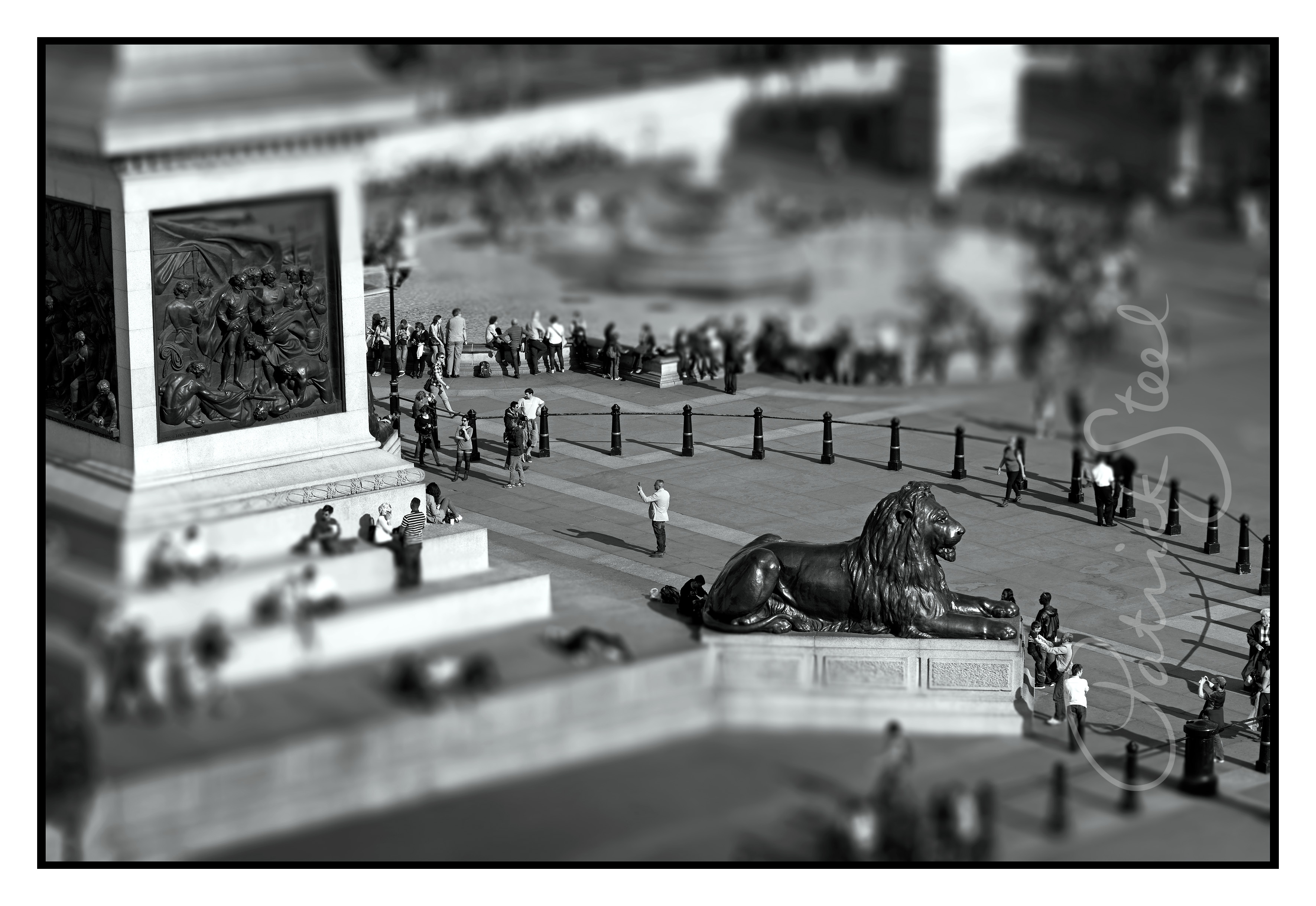 Title: Landseer Lion, Trafalgar Square, London | B&W | <a href=